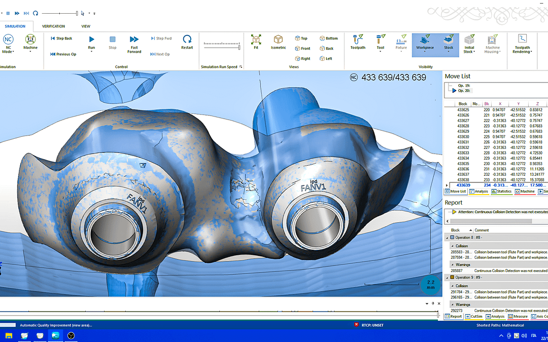 Quotidiani protocolli operativi in un flusso Full-Digital: pianificazione, convalida, fresatura multi asse  del titanio.